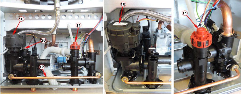 Сервопривод трехходового клапана и предохранительный клапан котлаBosch Gaz 6000